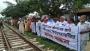 ভাঙ্গুড়া স্টেশনে প্ল্যাটফর্ম ও শেড নির্মাণের দাবিতে মানববন্ধন
